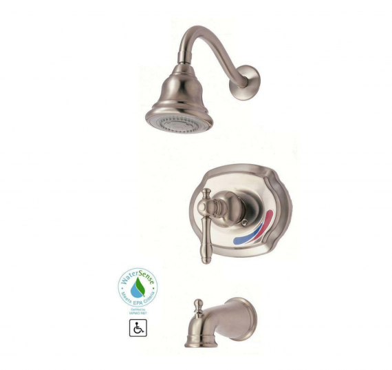 Glacier Bay 873-W204 Lyndhurst Single-Handle 1-Spray Tub and Shower Faucet in Brushed Nickel