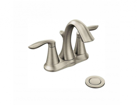 Moen Eva 4 in. Centerset 2-Handle High-Arc Bathroom Faucet in Brushed Nickel