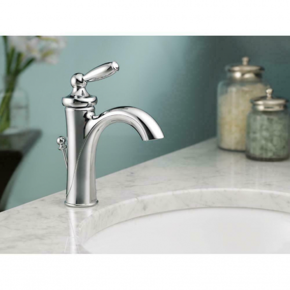 MOEN Bathroom Faucet Chrome 6600 Brantford Single Hole 1-Handle Low Arc W/ Drain